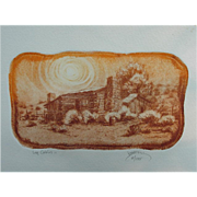 Roy Purcell Etching, Log Cabin II