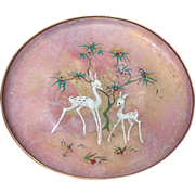 Vintage Enamel on Copper Tray, Sagita, Holland, White Deer