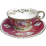 Davenport Cup and Saucer, Deep Pink, Floral Reserves, Gold Decoration