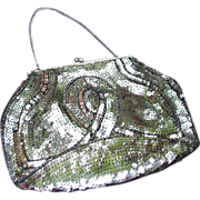 Vintage Evening Purse, Gold Sequins w Copper-Colored Accent Beads