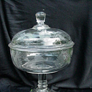 Early American Pressed Glass Covered Pedestal Compote, Fern Pattern