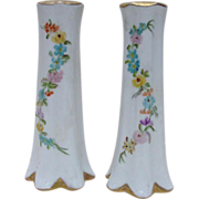 Porcelain Salt and Pepper Shakers, Fluted Body, Hand-Painted Florals