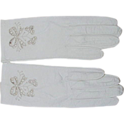 Exquisite Vintage Kid Gloves with Cut-Out Bows at Wrist