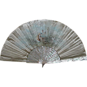 19th C. Fan with MOP Sticks, Hand-Painted & Signed by Artist Jolivet