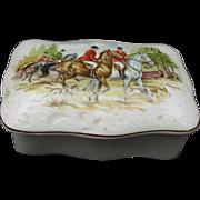 Royal Tara Fine Bone China Box with Hunt Scene on Lid