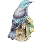 Vintage Bisque Porcelain Mountain Blue Bird by Andrea, Made in Japan