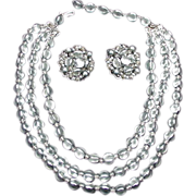 Robert Demi Parure of Gray and Clear Beaded Necklace and Earrings