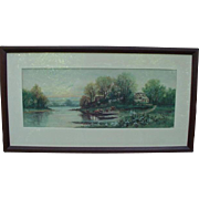 Signed Landscape Painting of Small Lakeside House