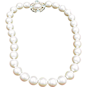 Vintage Givenchy Faux Pearl Necklace with Ornate Clasp