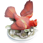 Vintage Bisque Porcelain Cardinal Figurine by Andrea, Japan