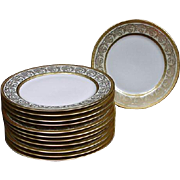 12 Arzberg, Germany Dessert Plates with Heavy Gold Border