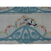Pair of Embroidered & Crocheted Cotton Pillow Cases Featuring Southern Bell