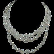 Vintage Three-Strand Crystal Beaded Necklace