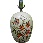 Vintage Pottery Table Lamp with Floral Decoration