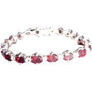 Sterling Silver and Red Stone Bracelet