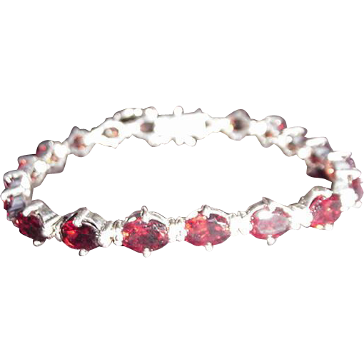 Silver Red Granite : Sterling silver and red stone bracelet from