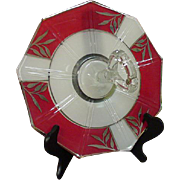 Art Deco Era Sandwich Tray, Center Handle, Red & White Panels, Silver Leaves