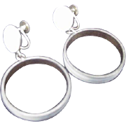Vintage Denmark Sterling Silver Hoop Dangle Earrings, Screw Backs