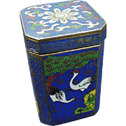 Vintage Cloisonne Box with Cranes on Side Panels, Floral Lid