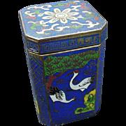 Vintage Cloisonne Box with Cranes on Side Panels, Floral Lid