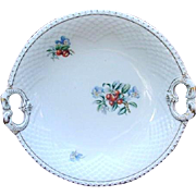 Bing and Grondahl Cake Plate, Dolphin Handles, Violets and Berries