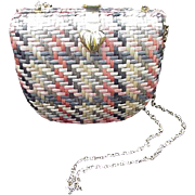 Vintage Vanessa Straw Handbag with Long Gold Tone Chain, Pastel Colors