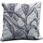 Vintage Needlepoint Pillow, Large Botanical, Shades of Gray
