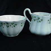 Royal Tara Bone China Cream & Sugar with Shamrock Decoration