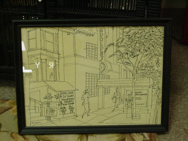 Artist's Sketch 1952, Metropolitan Street Scene, Greenwich Village, New York, Signed Mahon