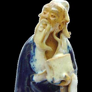 Vintage Chinese Mudman Figure Mounted on Base