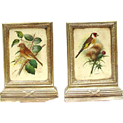 Pair of Borghese Bookends Painted with Birds