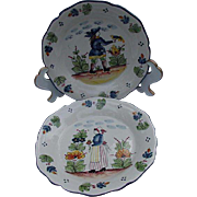 Vintage Pair of Quimper Style Plates, Jay Willfred div. of Andrea