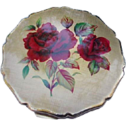 Stratton Compact, Roses on Lid, Stars on Back