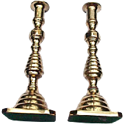 Pair of Vintage Brass Candlesticks, Beehive Base