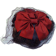 Vintage Mink and Satin Cocktail Hat with Veil