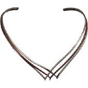 Vintage Mexico V-Shaped Necklace, Copper and Brass
