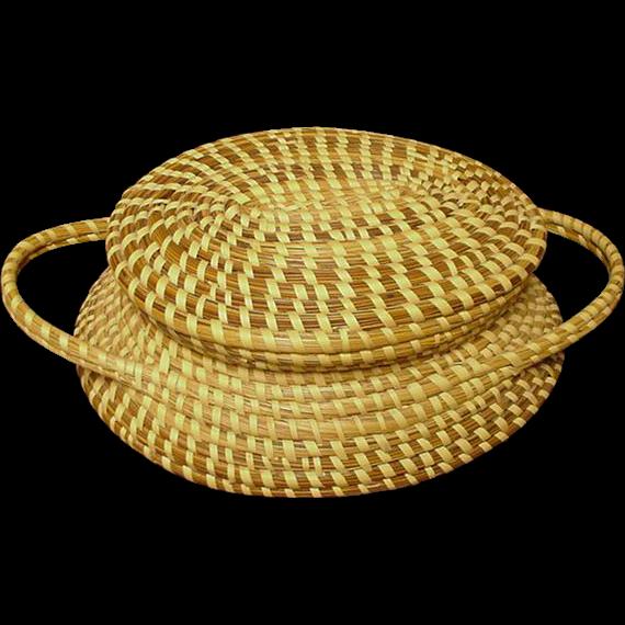 Handmade Baskets In Charleston : Vintage sweet grass basket with lid hand made charleston