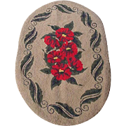 Vintage Hooked Rug, Red Flowers