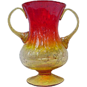 Double-Handled Amberina Blown Glass Vase