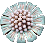 Vintage Floral Brooch, White and Turquoise on Goldtone, Signed Lee Sands