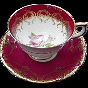 Anysley, English Bone China Cup and Saucer, Deep Rose