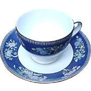 Blue Siam Wedgwood Cup and Saucer, Leigh Shape