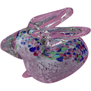 Murano Glass Bunny Rabbit, Clear Glass Body, Multi-Color Pastel Spatter Inside