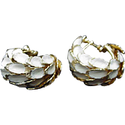 Vintage Gold-tone Hoop Clips, Overlapping Leaves Brushed with White Enamel