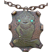 Copper Necklace, Hammered Plaque with Applied, Ancient American Figure, Turquoise Studded Ears, Mexico