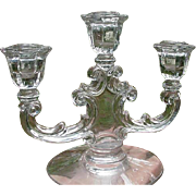 Pair of Elegant Glass Three-Light Candlesticks
