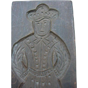Vintage Wood Cookie Mold, Image of Man in Period Costume