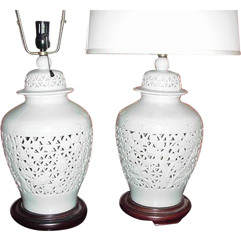 Pair Of Vintage Pierced Anese Ginger Jar White Lamps Sold Ruby Lane