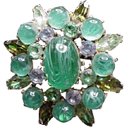 Vintage Brooch with Green Stones, Cab, Marquis, and Round