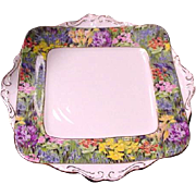 Paragon Cake Plate, Fields of Flowers Border, England